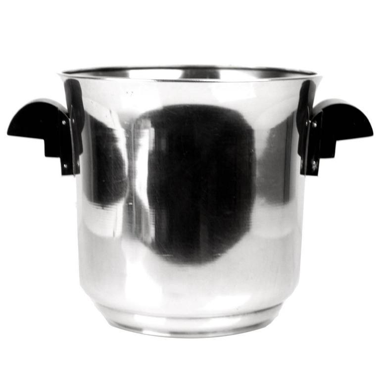 French Art Deco Champagne Ice Bucket Wine Cooler, 1930s Modernist Cubist Design 1