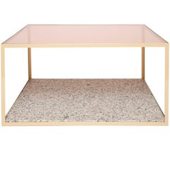 Pieces Fitted Customizable Modern Granite Rose Gold Glass Coffee Cocktail Table