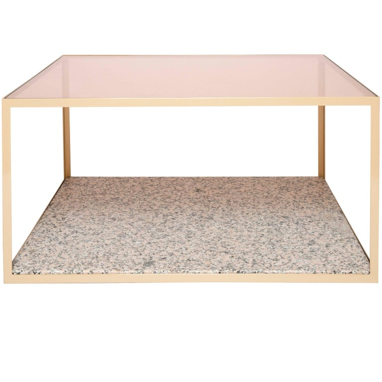 Solid Granite Top Coffee Table: Pieces Fitted Customizable Modern Granite Rose Gold Glass