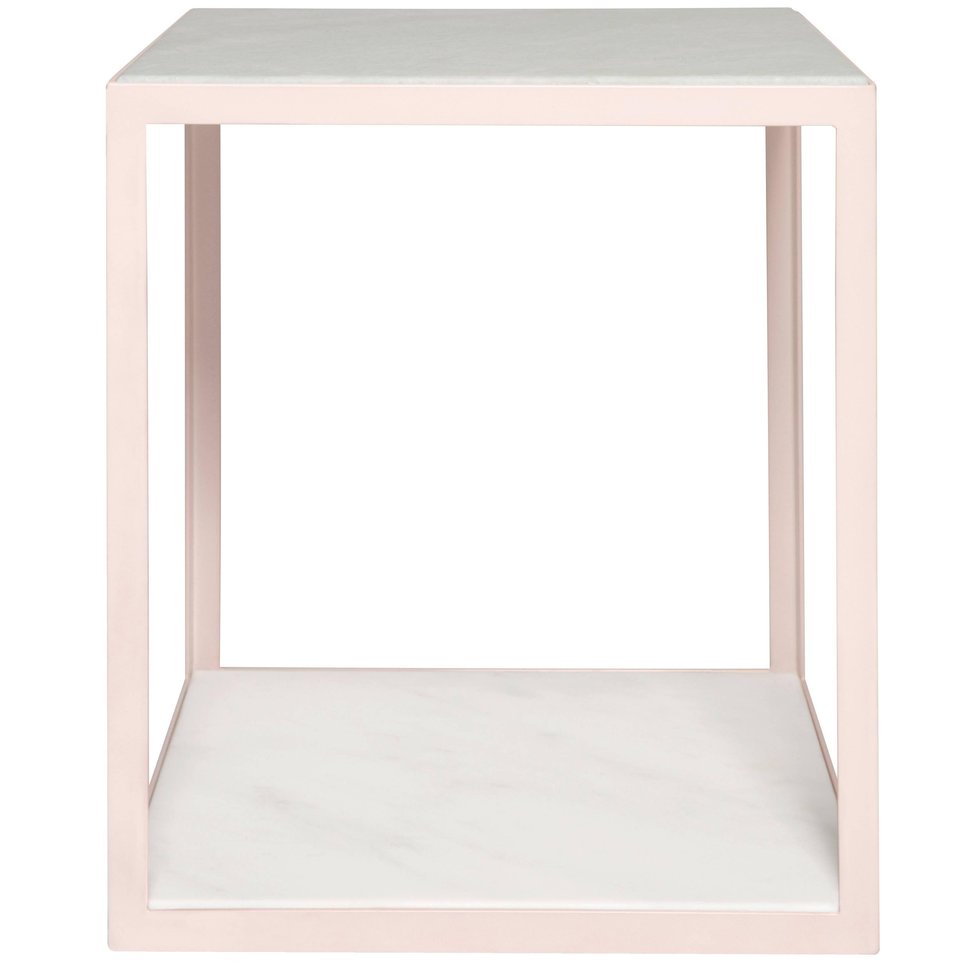 Fitted Side Table by Pieces, Modern Customizable End Table in Stone Glass Wood