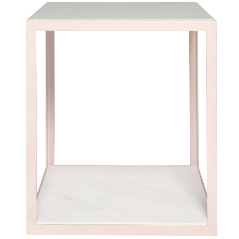 Fitted Side Table by Pieces, Modern Customizable End Table in Stone Glass Wood For Sale