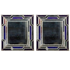 Arresting Pair of Mid-Century, Beaded, Sicilian Mirrors