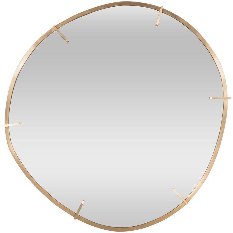 Sophisticated Custom Handmade Organic Modernist Mirror in Burnished Brass