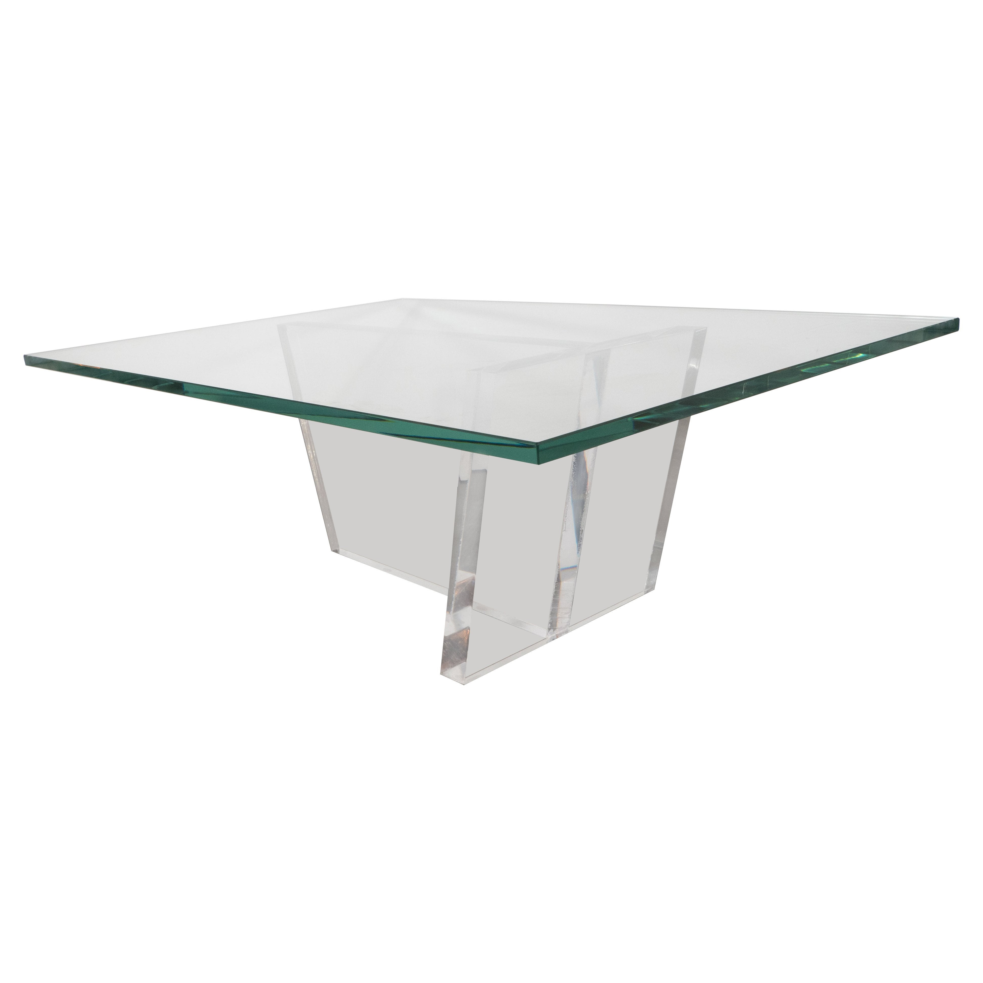 Sculptural Mid-Century Modernist Glass and Lucite Cocktail Table