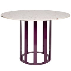 Flux Round Dining Table by Pieces, Modern Customizable in Stone Wood and Glass