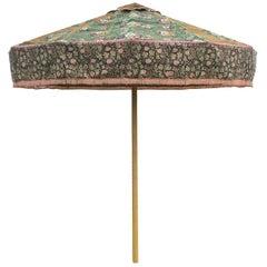Antique Textile Sun Umbrella Garden Parasol Vintage Fabric Floral Green Yellow