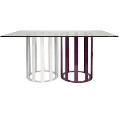 Flux Rectangle Dining Table by Pieces, Modern Customizable in Stone Wood Glass