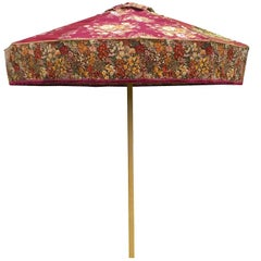 Regal Vintage Fabric Red Floral Sun Umbrella Patio Parasol 1-Off Designer Piece