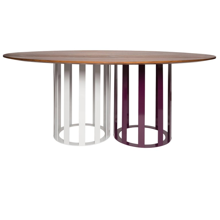 Flux Round Dining Table by Pieces, Modern Customizable in Stone Wood Glass  For Sale