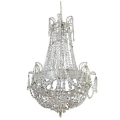 Large Glam, circa 1930 Italian Crystal Chandelier