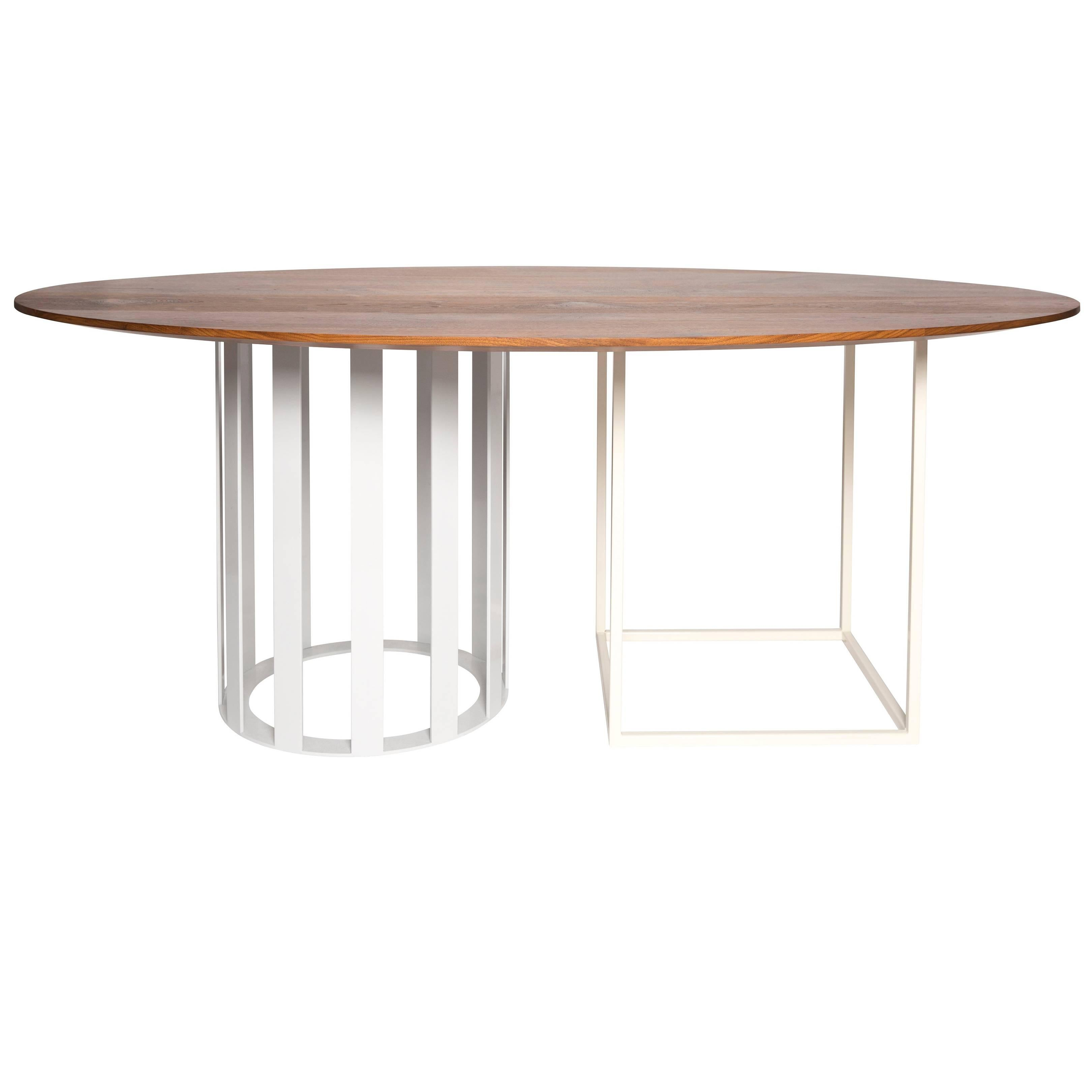 Flux Oval Dining Table by Pieces, Modern Customizable in Stone Wood Glass