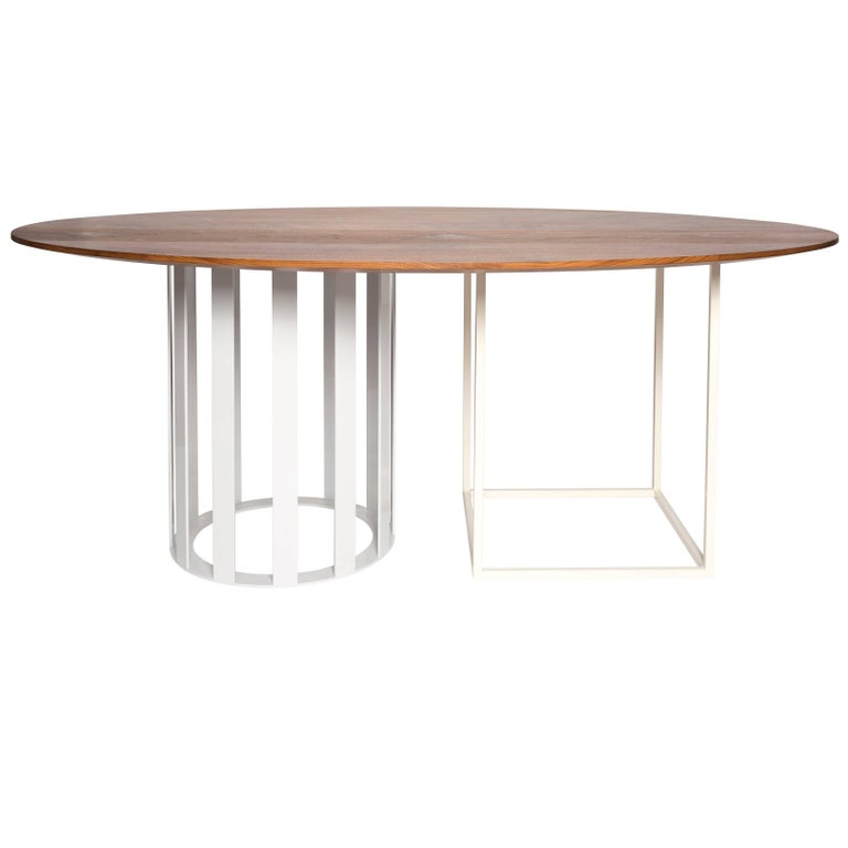 Flux Oval Dining Table by Pieces, Modern Customizable in Stone Wood Glass For Sale