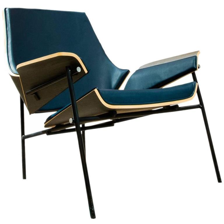 Lounge Chair in Bentwood and Leather or Fabric For Sale