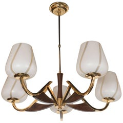 Organic Mid-Century Modernist Chandelier in Brass, Walnut and Frosted Glass
