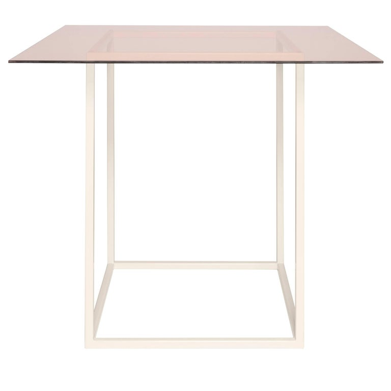 Flux Breakfast Table by Pieces, Modern Customizable in Glass Wood Stone
