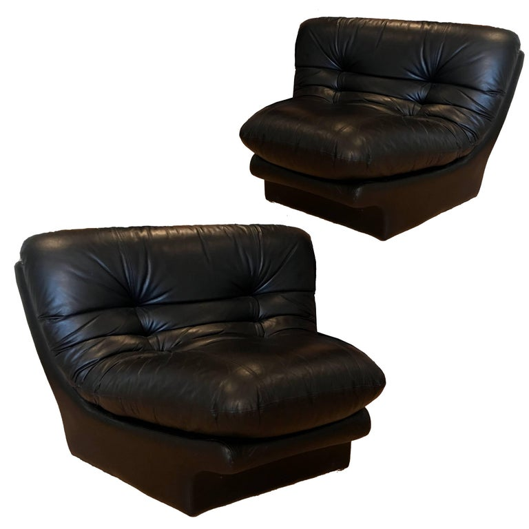 Preview Wedge Ruched Leather Lounge Chairs in the Manner of Vladimir Kagan, Pair