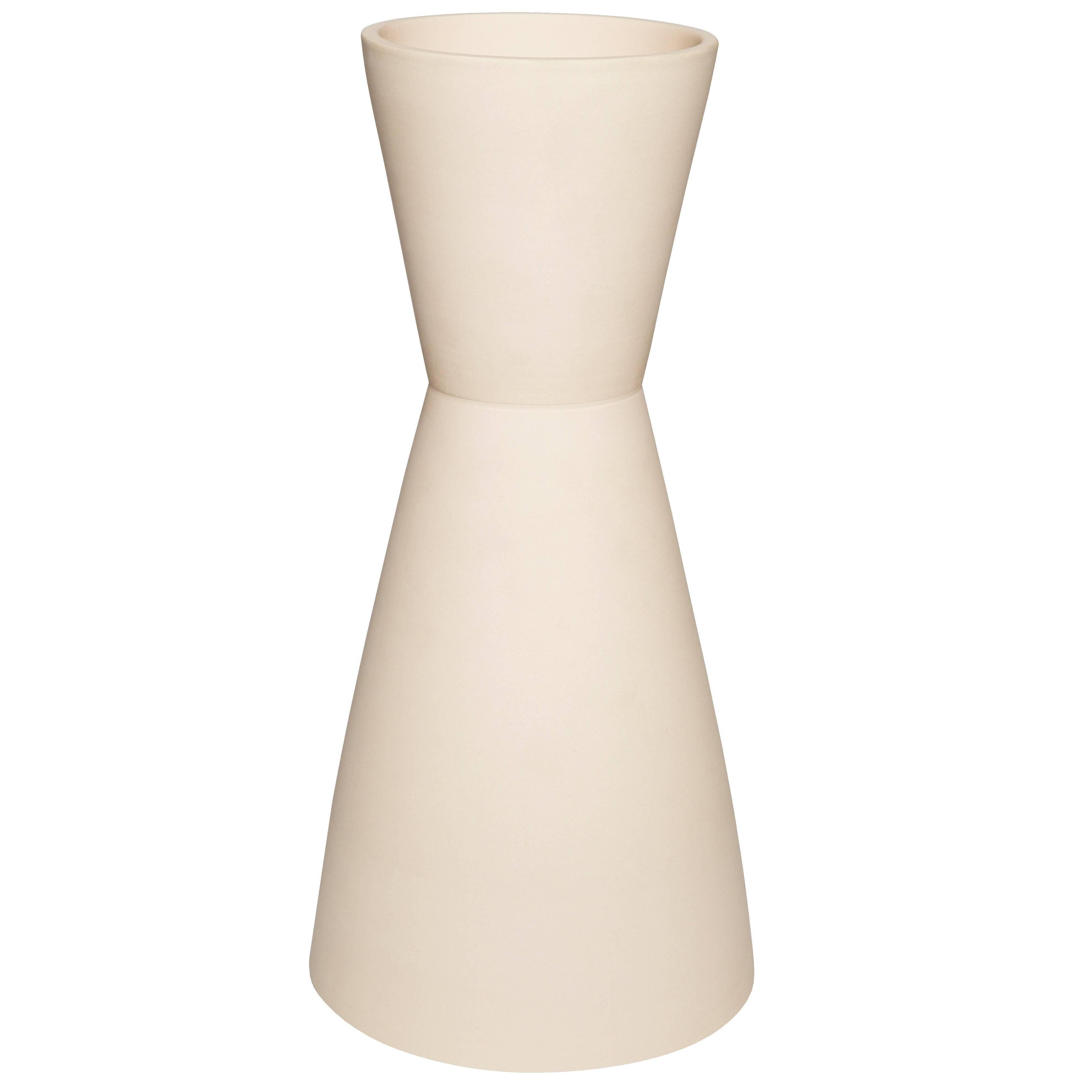 Sedge Double Cone Ceramic Handmade Vase by Pieces, Customizable Cream Vessel