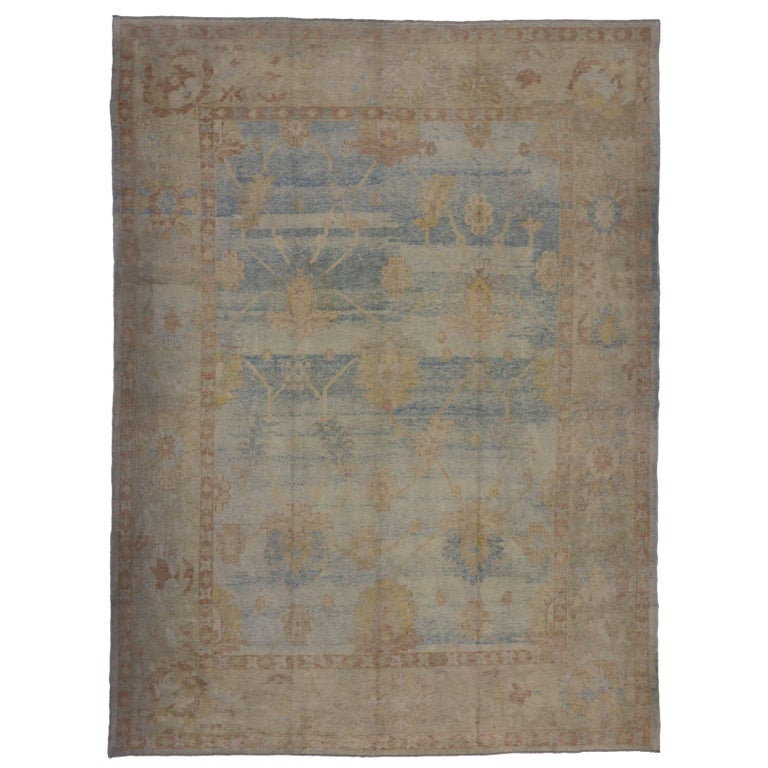 Modern Oushak Rug: Modern Oushak Style Rug With Transitional Style And