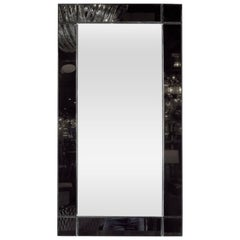 Custom Handmade Rectangular Mirror with Beveled Black Mirrored Glass Border