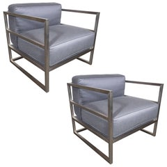 Pair of Modernist Brushed Aluminium Club Chairs in Platinum Sharkskin