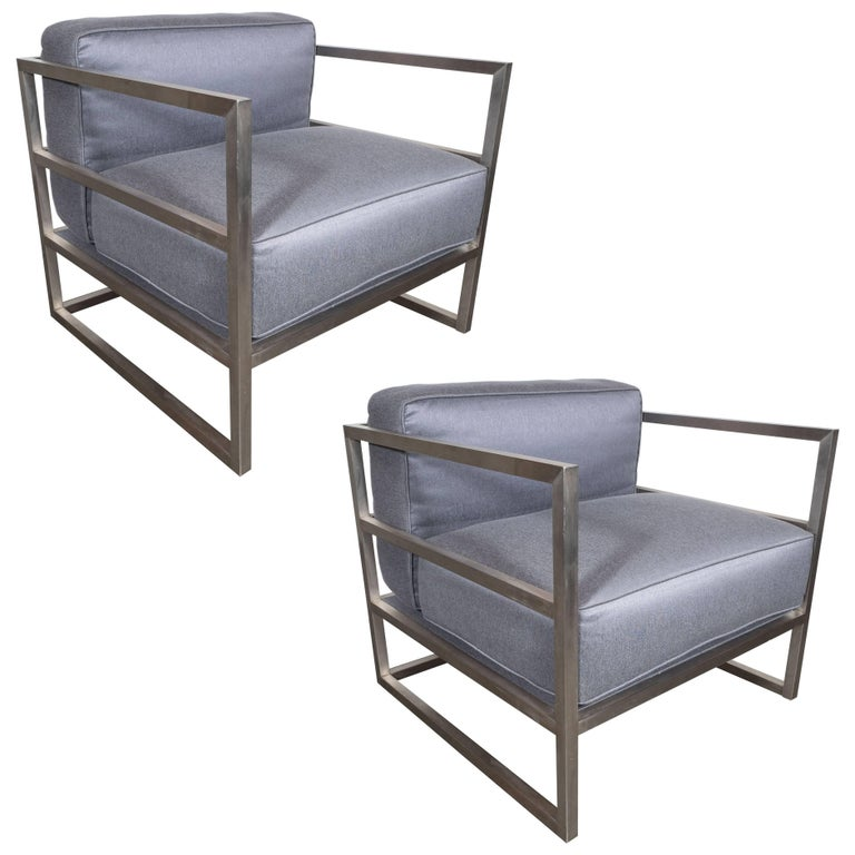 Pair of Modernist Brushed Aluminium Club Chairs in Platinum Sharkskin For Sale