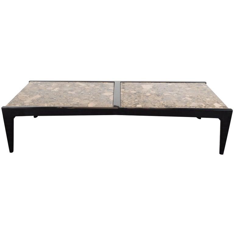 Mid-Century Modernist Ebonized Walnut Table with Metamorphic Granite Top