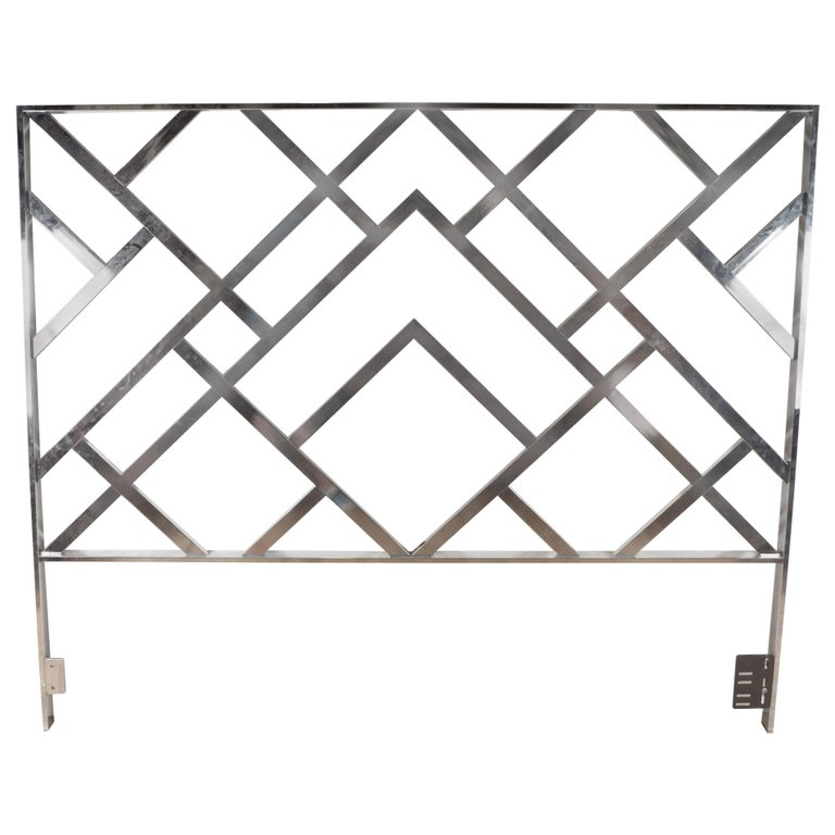 Mid-Century Modernist Chrome King-Size Headboard in the Style of Milo Baughman