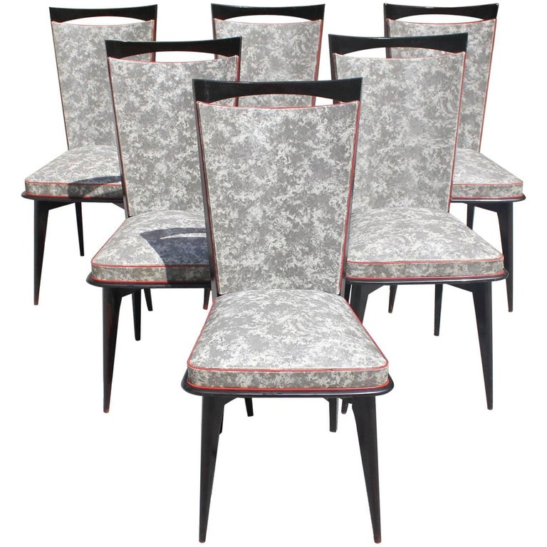 Set of Six French Art Deco Solid Mahogany Dining Chairs, circa 1940s 1