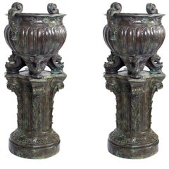 Huge Pair of Solid Bronze Classical Jardinieres on Stands