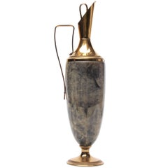 Aldo Tura Lacquered Goatskin Parchment and Brass Carafe