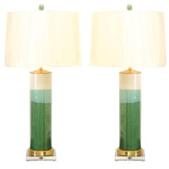 Exquisite Pair of Drip-Glaze Lamps with Accents of Lucite, Brass and Jade