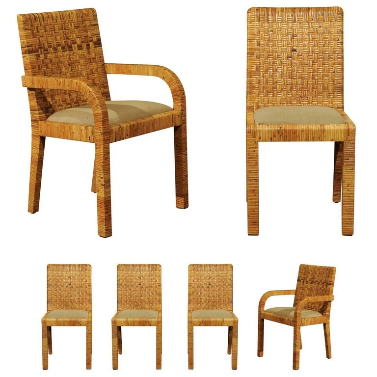 Stellar Set of Six Rattan Wrapped Dining Chairs in the Style of Billy Baldwin