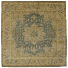 Modern Heriz Style Rug in Soft Colors, Square Rug