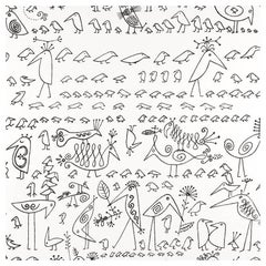 Schumacher Aviary Saul Steinberg Vinyl Black on White Wallpaper Two Roll Set