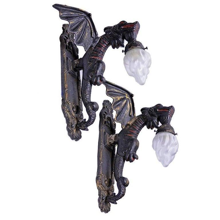 Set of Two Cast Iron Dragon Sconces