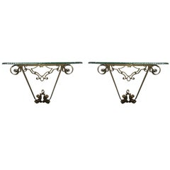 Luigi Colli Pair of Hammered Bronze Console Tables, Italy, 1950s