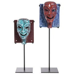 Pair of Italian Ceramic Masks on Stands