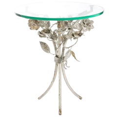 Iron Round Top Glass Side Table