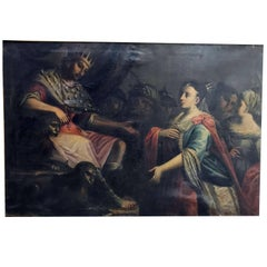 Esther and Ahasuerus Large Italian Painting, circa 1780 Framed Biblical Scene
