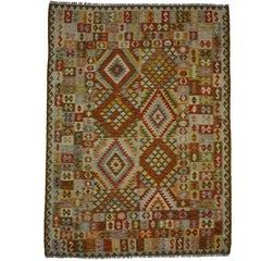 Boho Chic Vintage Afghani Shirvan Kilim Rug with Modern Tribal Style, FlatWeave