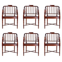 Set of Six British Colonia Style Caned Tub Armchairs