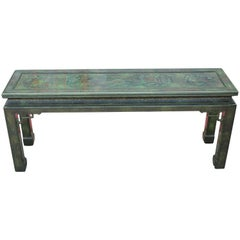 Modern Green Lacquered Carved Chinoiserie Console Table by John Widdicomb