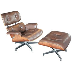 Modern Rosewood Eames Lounge Chair and Ottoman in Dark Brown Leather 670