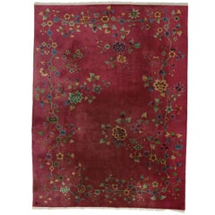 Fuchsia-Raspberry, Early 20th Century Antique Chinese Art Deco Rug
