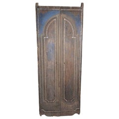 Antique Natural Temple Door with Shell Inlay