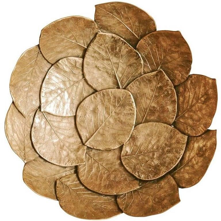 Handmade Brass Cast Leaf Bowl 'Medium'