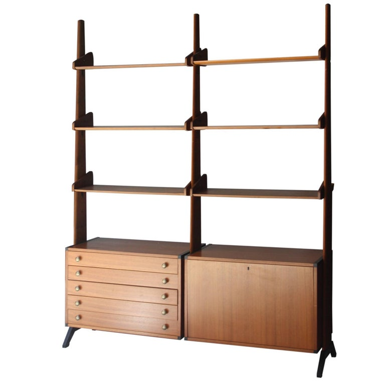 shelf made of rosewood with storage module below italy 1950 for sale at 1stdibs. Black Bedroom Furniture Sets. Home Design Ideas