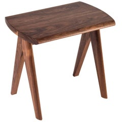 Crest Stool by Tretiak Works, Contemporary Handmade Solid Wood Stool Walnut