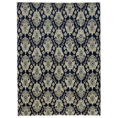 New Contemporary Navy Blue Ikat Area Rug with Modern Hollywood Regency Style