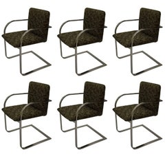 Set of Six Brueton Chrome Armchairs in the style of the Brno Chair